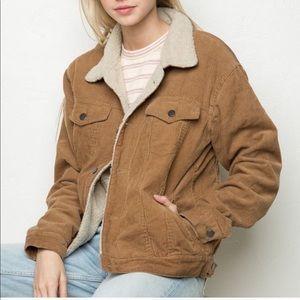 brandy melville tan corduroy jacket w fur lining